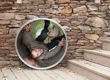 Free Lad Creeps On Steel Pipe Stock Photo - 16808120