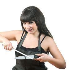 Free Women Sharpen Knife Stock Image - 16808191