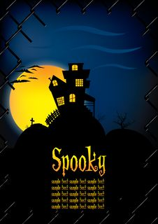 Free Spooky House Background Template Royalty Free Stock Image - 16808206
