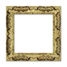 Old Grunge Frame Isolated On White Stock Image