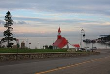 Free Church And Sea At The Sunset, Tadoussac, Quebec Stock Image - 16809681