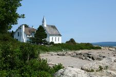 Free Church And The Sea, Port Au Persil, Quebec, Canada Stock Photography - 16809832