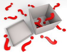 Red Question Marks And A Box Royalty Free Stock Photography
