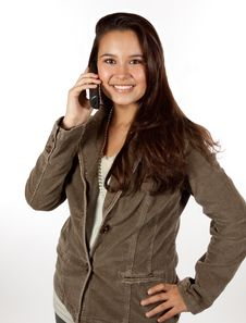 Free Young Hispanic Female On Telephone Royalty Free Stock Photo - 16810345