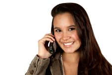 Free Young Hispanic Female On Telephone Royalty Free Stock Image - 16810356