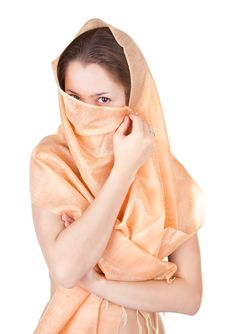 Naked Girl In A Transparent Shawl Royalty Free Stock Photography