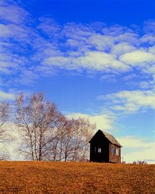 Log Cabin Under The Blue Sky In China Royalty Free Stock Photography