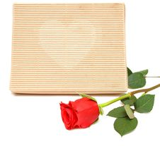 Red Rose And Gift Box Royalty Free Stock Images