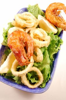 Fried Calamari Rings And Prawns 6 Royalty Free Stock Photos
