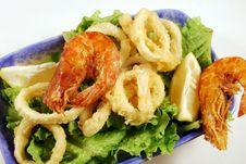 Free Fried Calamari Rings And Shrimp Royalty Free Stock Images - 16814289