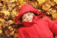 Free Autumn - The Girl Is In The Yellow Leaves Royalty Free Stock Image - 16814436