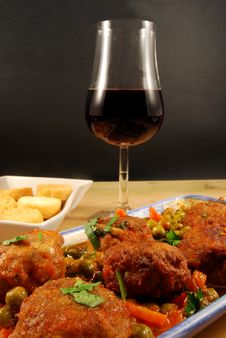 Free Meatballs, Croutons And Red Wine Stock Photo - 16814780