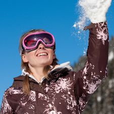 Free Girl Throwing Snowflake Royalty Free Stock Photo - 16815175