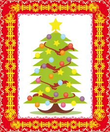 Postcard With Christmas Tree Stock Image