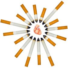 Free Small Human Heart Against Numerous Cigarettes Stock Photos - 16816153