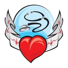 Heart And Electrocardiogram Stock Photos