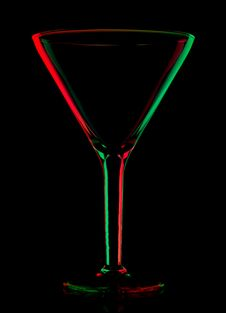 Free Transparent Colored Empty Martini Glass On Black Royalty Free Stock Image - 16816926