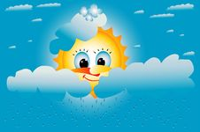 Yellow Sun Smiles In The Clouds Royalty Free Stock Image