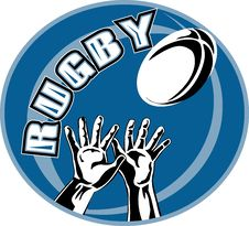 Rugby Player Hands Catching Ball Royalty Free Stock Photography