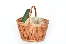 Harvest Basket With Pumpkin Royalty Free Stock Photos