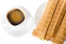 Wafers And Coffee Royalty Free Stock Photos