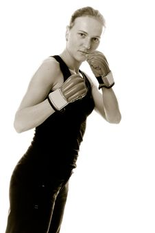Free Beautiful Girl With Boxing Gloves. Stock Image - 16817601