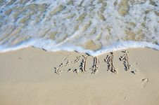 Inscription On Sand Royalty Free Stock Photo