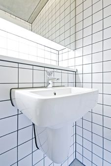 Free Contemporary Bathroom Detail With Retro Tiled Wall Stock Image - 16817881