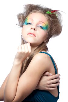 Free Beautiful Woman  With Color Makeup Stock Images - 16818604