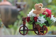 Free Bear With Beautiful Flowers. Royalty Free Stock Photos - 16818608