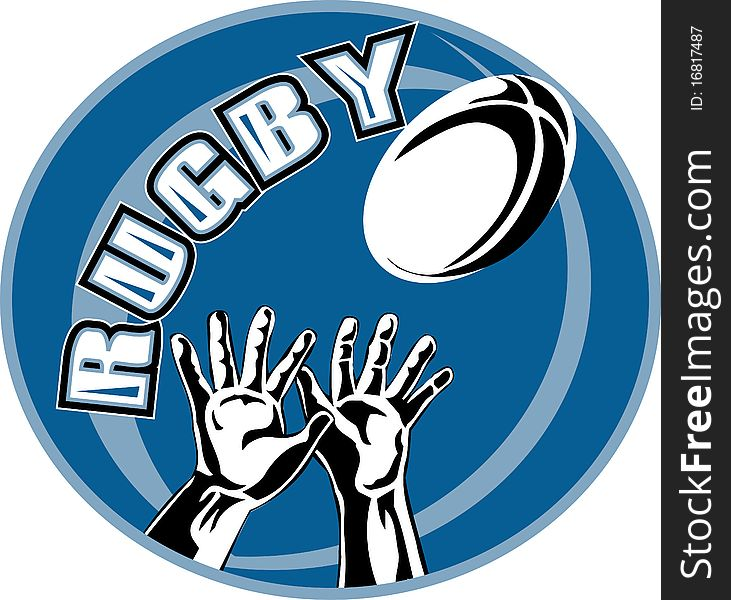 Rugby player hands catching ball