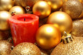 Free Christmas Balls And A Red Candle Stock Photos - 16824973