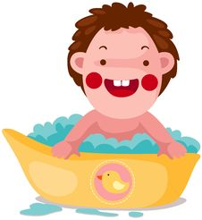 Free Baby Takes A Bubble Bath. Royalty Free Stock Photos - 16820728