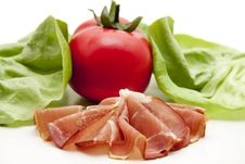 Raw Ham And Tomato Stock Photography