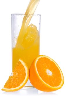 Free Orange Juice With Slice Of Orange Royalty Free Stock Photo - 16822005