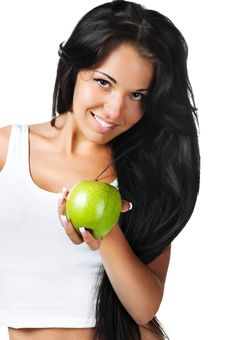 Free Young Woman With Apple Royalty Free Stock Photo - 16822335