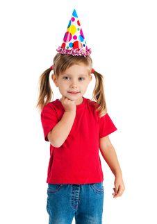 Funny Girl In Birthday Cap On White Stock Photo