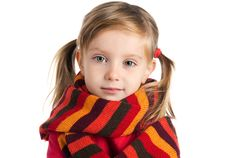 Free Sad  Little Girl In A Striped Scarf Stock Photos - 16822953