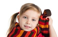 Free Cute Little Girl In A Striped Scarf Royalty Free Stock Images - 16822999