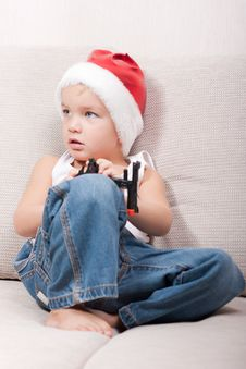 Free Little Boy In Santa Hat Stock Photography - 16823802