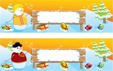 Free Set Of Two Christmas Banners Royalty Free Stock Image - 16823816