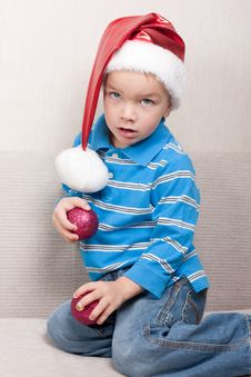 Free Boy In Red Christmas Hat Stock Photography - 16823832