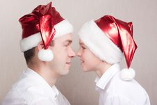 Free Happy Teen And Man In Santa Hat Stock Photos - 16823843