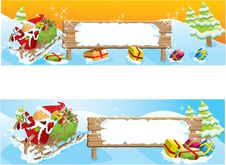 Free Set Of Two Christmas Banners Royalty Free Stock Photography - 16823847