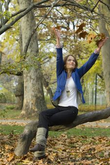 Free Women In The Autumn Forest Royalty Free Stock Image - 16826766