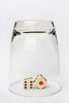 Free Dice In Glass Upside Down Royalty Free Stock Photography - 16827137