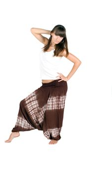 Free Pretty Girl In Ethnic Trousers Royalty Free Stock Photography - 16827277
