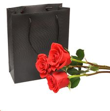 Black Gift Bag With Red Rose Royalty Free Stock Photography