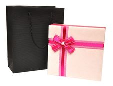Free Gift Box Decorated With Ribbon And Black Bag Stock Images - 16827684