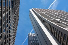 Looking Up At Tall Skyscrapers Stock Photography